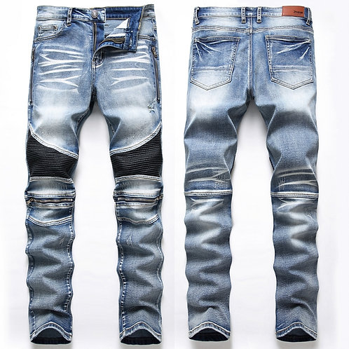 Casual Washed Cotton Fold Skinny Ripped Jeans Hip Hop Elasticity Slim Denim