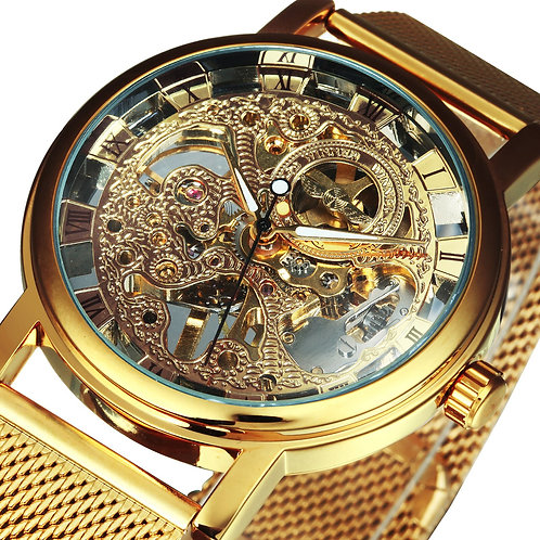 Automatic Watch Men Ultra Thin Golden Mesh Strap  Luxury Classic Wristwatch