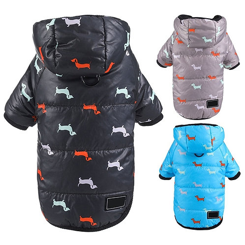 Winter Clothes for Dogs Dachshund Printed Cotton Down Jacket Hoodie