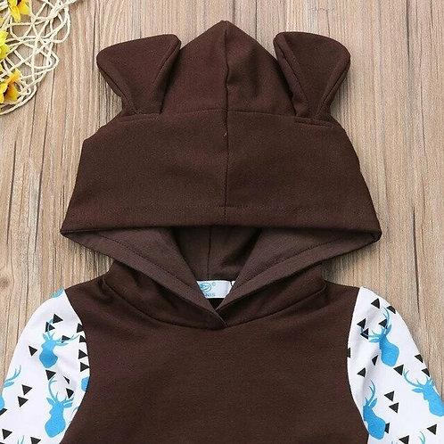 Fashion Cute Infant Newborn Baby Boys Girls Clothes Hooded Sweatshirt Print Pant