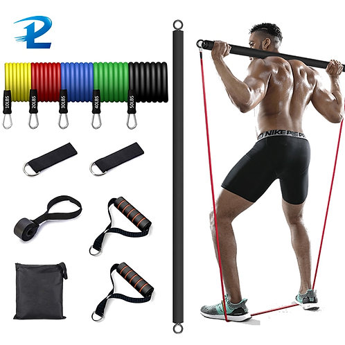 Resistance Band With Strength Training Bar Resistance Gym Equipment Exercise