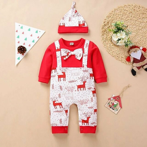 My First Christmas Newborn Baby Boys Girls Rompers Long Sleeve Christmas Bowknot