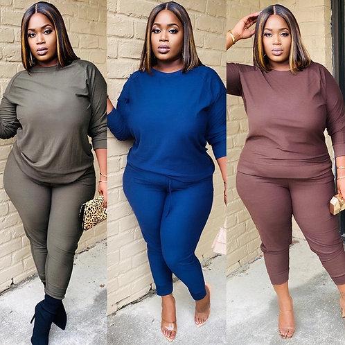 Plus Size  Solidong Pants Suit Sweat Suit Tracksuit Female Outfit