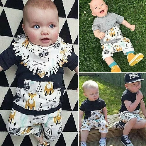 Casual 2PCS Infant Toddler Baby Boy Outfit Clothes Set Shorts Sleeve T-shirts +P