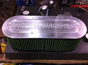 Maks billet filter cover for the Anger Management Monster Truck