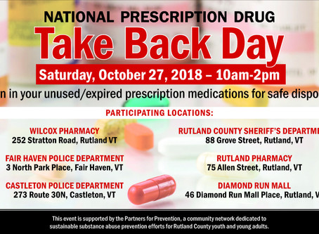 Prescription Drug Take Back Day October 27th, 2018