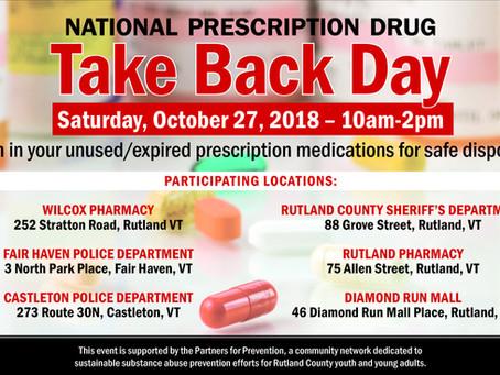 Prescription Drug Take Back Day October 27th, 2018