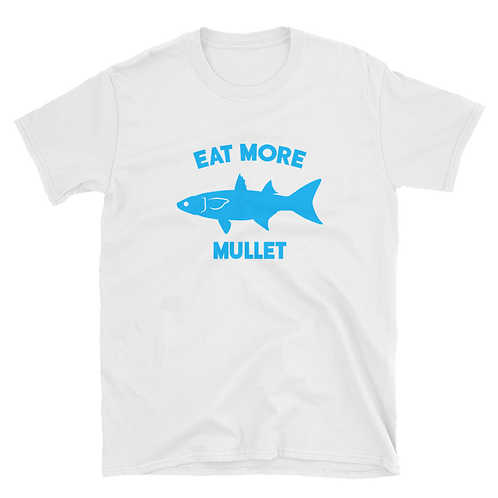 White/Blue Eat More Mullet Tee