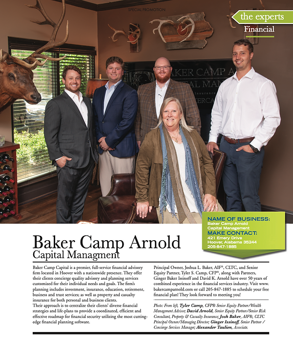 Baker Camp Arnold, Baker Capital Management, Investments, Finace, busniess, retirement