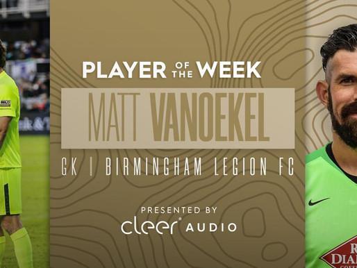 Legion Goalkeeper Matt Vanoekel Named USL Championship Player of the Week.