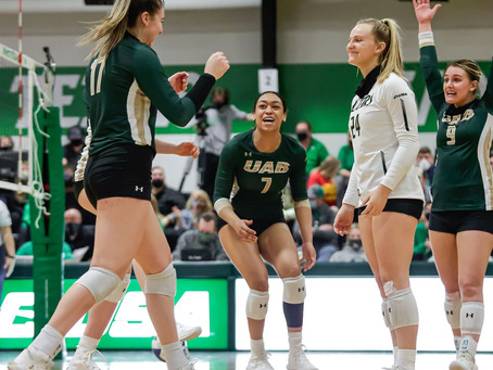 Blazers Win Conference Opener Over North Texas in Five Sets