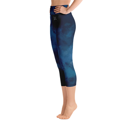 Watercolor Dark Blue Yoga Capri Leggings