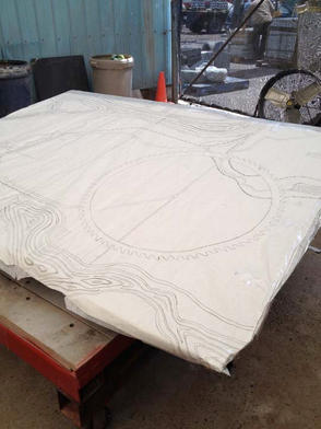 Full scale drawing on stone