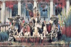 Neptune's Fountain-Oil on bpard, A