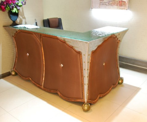 Steel glass and leather desk