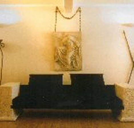 Stone arm sofa