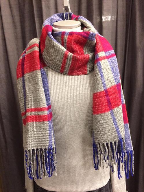 Warme shawl rood/blauwe blok