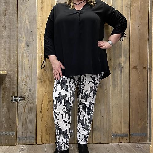 Lange tuniek/blouse rimpel mouw div. kleuren