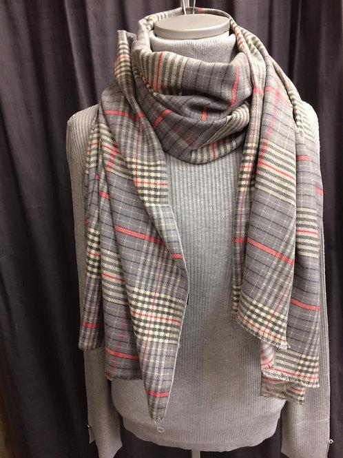 Fleece shawl fijn blokje grijs