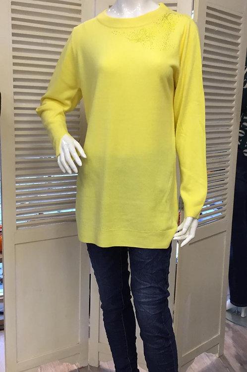 Blue Seven trui Glitter schouder geel