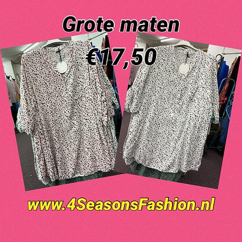 Print lange tuniek/blouse div. kleuren