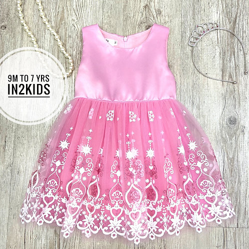 Pink Fantasy Snowflake Princess Dress