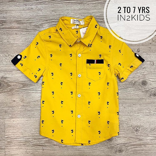Palm Trees Printed Shirt in Yellow