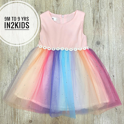 Pink Rainbow Glitter Princess Dress