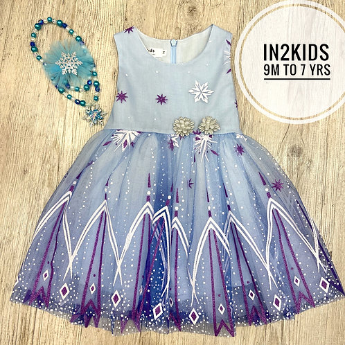 Frozen Themed Snowflake Princess Dress