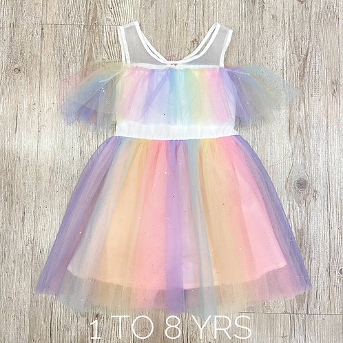 Rainbow Off-shoulder Princess Dress