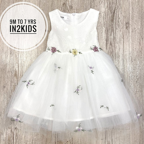 Classic White Princess Floral Dress