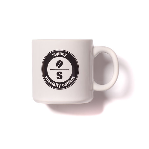 "Caneca de porcelana branca Suplicy Cafés ""selo"""