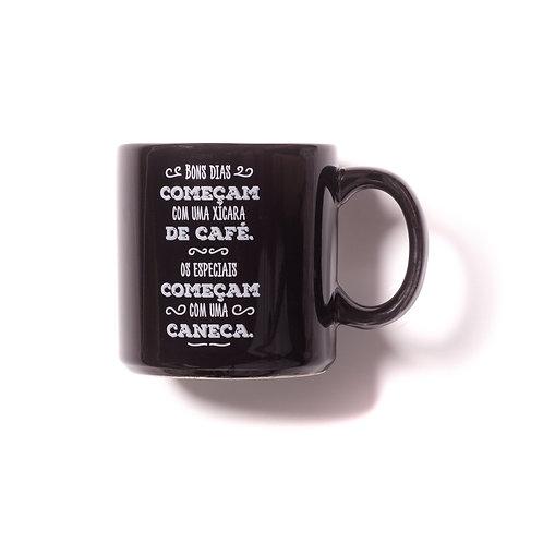 """Caneca de porcelana preta """"Bons Dias"""""""