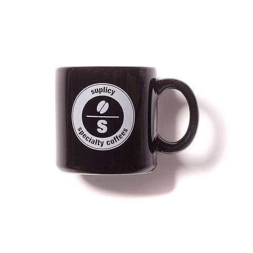 "Caneca de porcelana preta Suplicy Cafés ""selo"""