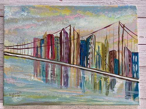 Brooklyn Bridge painted in a retro, abstract style