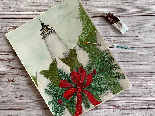 Ocracoke Light at Christmas time