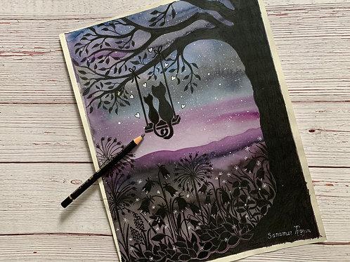 Romantic night on a swing