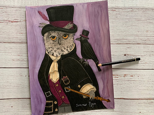 Very distinguished owl with his magic wand