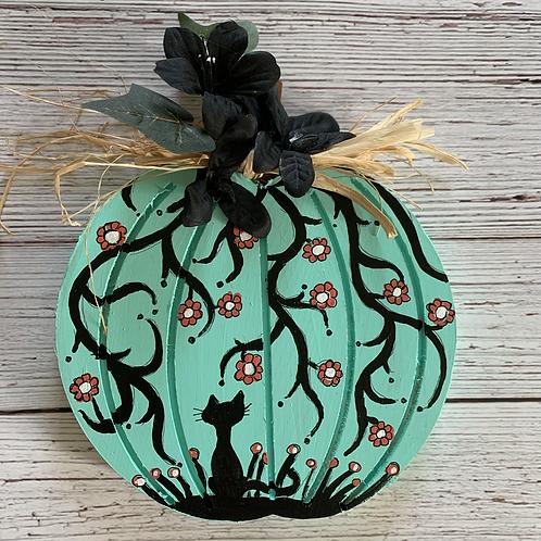 Teal blue Shadow Kitty wooden pumpkin