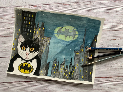 Batman cat, featuring Chibs the cat