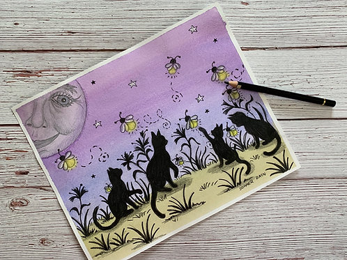 Shadow Kitties chasing fireflies