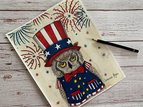 Patriotic Owl, he is ready to celebrate