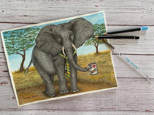 Mr  Elephant loves his coffee
