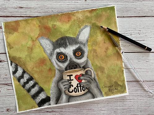 Coffee loving Lemur