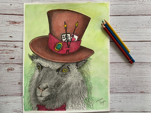 Gerald, the Mad Hatter sheep