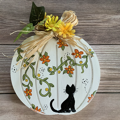 Autumn Shadow Kitty wooden pumpkin