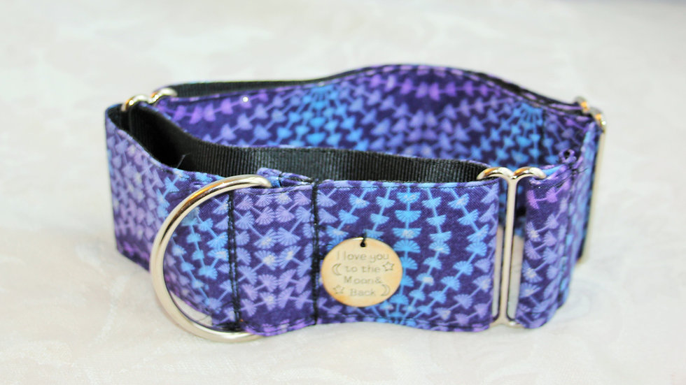 """""""I love you to the moon and back""""2 inch Martingale collar Medium (Borzoi size)"""
