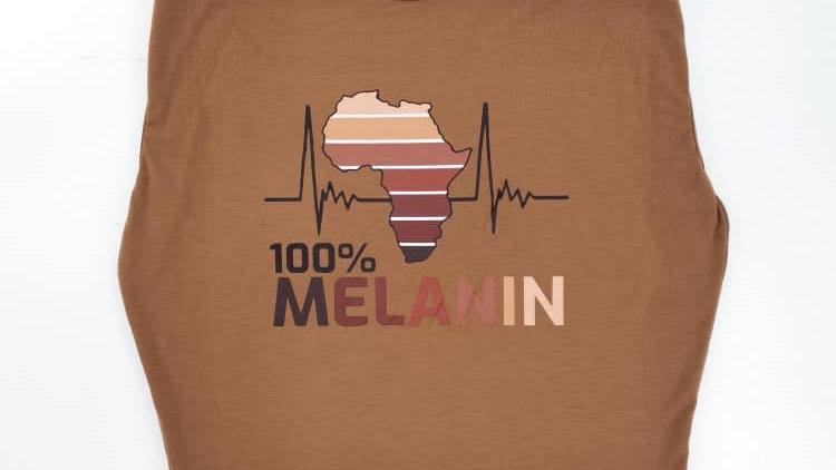 100% Melanin sleeveless shoulder pad top