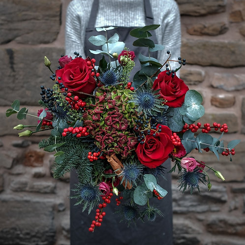 Festive Red Bouquet Flower Barn Delivery Formby Crosby