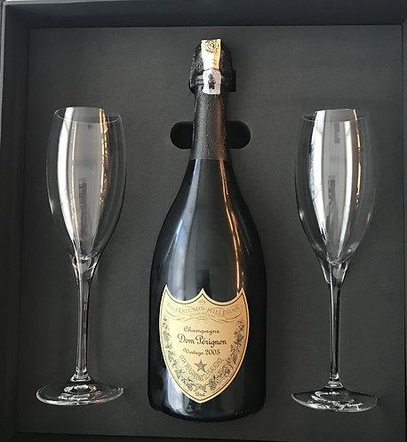 2005 Dom Perignon with two champagne glass gift box